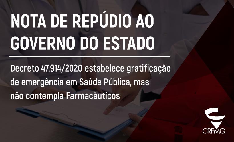 CRF/MG repudia atitude do governo estadual e pede contratação e gratificação temporária também para os farmacêuticos